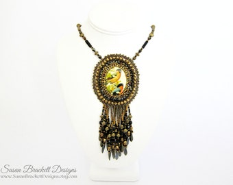 Wild Birds Beaded Cameo Necklace Statement Jewelry Cocktail Fashion Piece Bohemian Necklaces Boho Bead Embroidered Jewelry - CLEARANCE ITEM