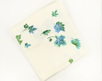 Vintage Autumn Leaves Tablecloth - California Hand Prints - Blue and Green Oak Leaf - Unused EXTRA LARGE Ivory CHP Vat Dyed Narco Rayon