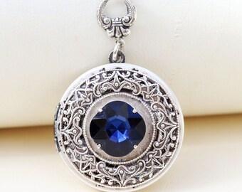 Sapphire Locket, Silver Locket,Jewelry,Necklace, Birthstone Locket,Sapphire  Rhinestone Locket,Flower,Wedding Necklace,bridesmaid necklace