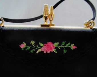 Black Vintage Handbag Purse Evening Bag 50s 60s cross-stitch florals Gift