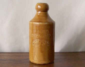 Antique Stoneware Beer Bottle 1915 Tooth & Co. R.Fowler Sydney Bar Decor Brewed Ginger Beer Bottle