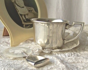 Vintage Sterling Baby Cup and Rattle Webster Silver Company Vintage Baby Shower Gift 1940s