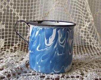 Vintage Enamelware Cup Blue Swirl Graniteware Speckleware Enameled Metal Mug Camping Cup 1930s.