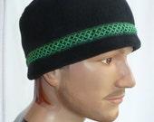 Black Polar Fleece Fez Cap with Celtic Knot/Irish Chain Trim
