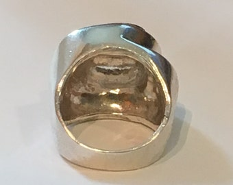 21.3 Grams HEAVY STERLING SILVER Chunky Modernist Ring Size 7.5