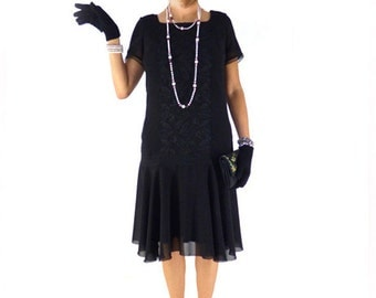 Retro Flapper Dress, Roaring 20s Dress, Great Gatsby Dress, Downton Abbey Dress, Flapper Costume, Custom Size, Chiffon, Black,Lace, 1920s