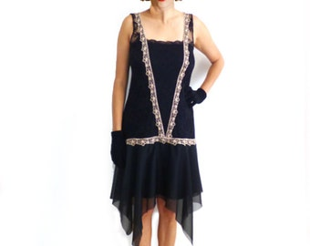 Great Gatsby Dress, Retro Flapper Dress, Flapper Costume, 1920s Dress, 20s Dress, Roaring 20s Dress,Downton Abbey Dress,Black Lace, Chiffon
