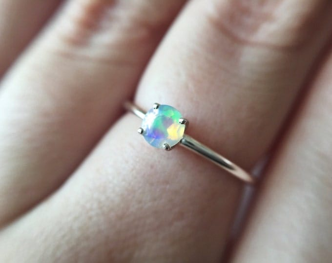 Tiny Round Faceted Ethiopian Opal Ring - sterling silver opal ring - faceted welo opal ring - opal engagement ring - october birthstone ring