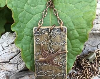mini book booklet journal necklace vintaj bird charm botanical nature inspired jewelry gardener journal etched brass metal vintaj jewelry