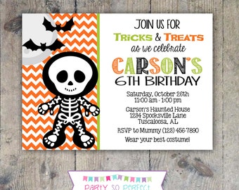 HALLOWEEN SKELETON INVITATION 5x7 Birthday Party - Boy Printable