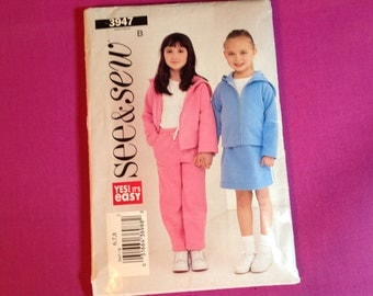 See & Sew Pattern 3947, girl's jacket pattern, pants pattern, skirt pattern, size 6/7/8