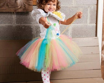 Girls Clown Tutu Dress Halloween Costume
