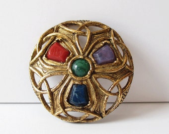 Sold'or Pin Gold Tone with Stones Vintage Soldor Brooch Jewelry Gift