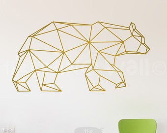 Geometric Bear Wall Decal Home Decor, Geometric Animals Bear Wall Stickers  Removable Vinyl, Australian