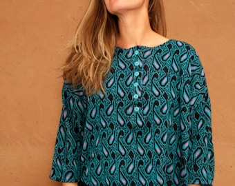 vintage TEAL PAISLEY crop 90s versace style sweater
