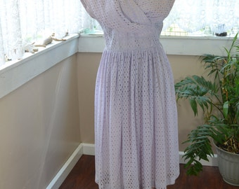 Vintage 50's Party Dress Lavender Eyelet Fabric - M