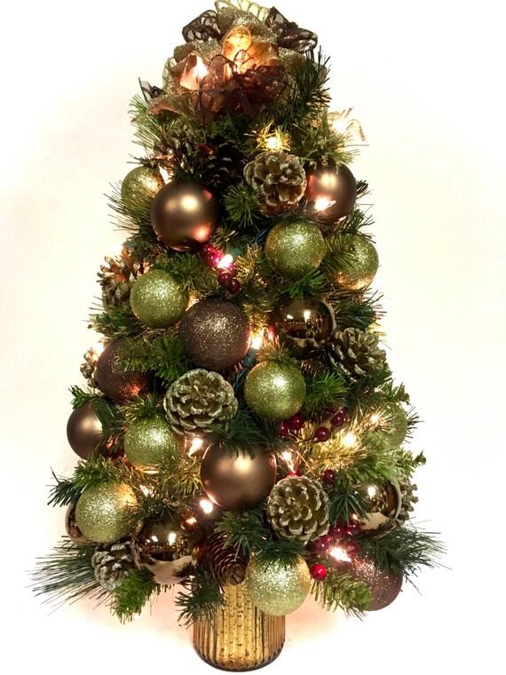 Elegant Tabletop Tree Christmas Tree Copper Gold Prelit Bright