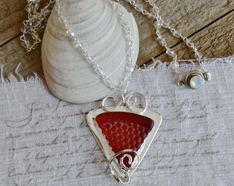RED PATTERN Sea Glass Necklace Bezel Set Argentium Sterling Silver Jewelry