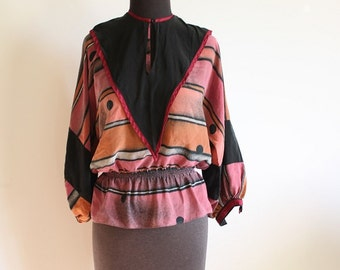 Parisian Boho - Beautiful Vintage Parisian Printed Silk Blouse With Pennant Style Tabbard Scarf with Tassle  - Size US 4