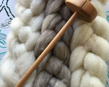 Learn to Spin Drop Spindle Kit with Heritage Wool, Top Whorl Spindle, Instructions, Spin Your Own Yarn, Romeldale, CVM, Shetland, Gulf Coast