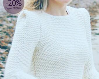 Enter 20OFF Hand knit sweater off white creamy sharp shoulder modern knitwear design minimalist unique for her handmade back too school