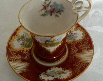 George Jones Tea Cup and Saucer; Hand Painted; Fragonard Shaped  circa 1920  DR