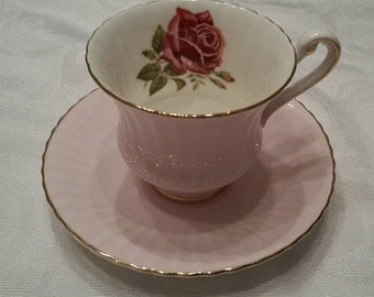 Paragon Tea Cup and Saucer; Pink; Featuring A Red Rose Inside The Cup circa 1957-1960's  DSC
