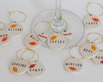 Oak Leaf Fall Wedding Favors and Personalized Ceramic Wine Charms - Bachelorette Party, Napa, Sonoma