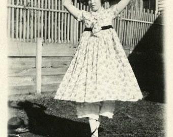 "Vintage Photo ""Backyard Ballerina"" Ballet Girl Snapshot Photo Old Photo Black & White Photograph Found Photo Paper Ephemera Vernacular - 118"