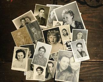 "50 pc - Vintage Portrait Photos ""Interesting Characters Collection"" Old Photo Antique Black & White Photography Paper Ephemera - 091716"