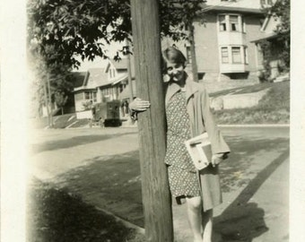 "Vintage Photo ""Walking to School"" Snapshot Antique Photo Old Black & White Photograph Found Paper Ephemera Vernacular - 127"