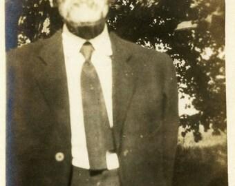"Vintage Photo ""Uncle Alvin"" Older Man Snapshot Photo Old Antique Photo Black & White Photograph Found Photo Paper Ephemera Vernacular - 164"