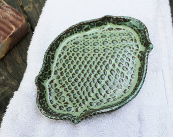 Lace Textured Soap Dish, Spoon Rest, Ring Rest or Candle Holder in Kiwi Green