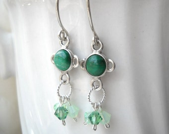 "Malachite and green crystal earrings: ""Make Me A Big Tall Tree"" - Gifts under 20, green earrings, florence and the machine, crystal earrings"