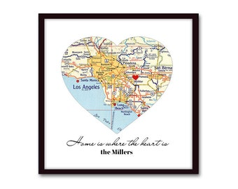New Home Housewarming Gift, Anniversary Gift, for Husband, Gift for Family, Wife Gift, New House, New Home Gift, Map Heart, Wall Decor