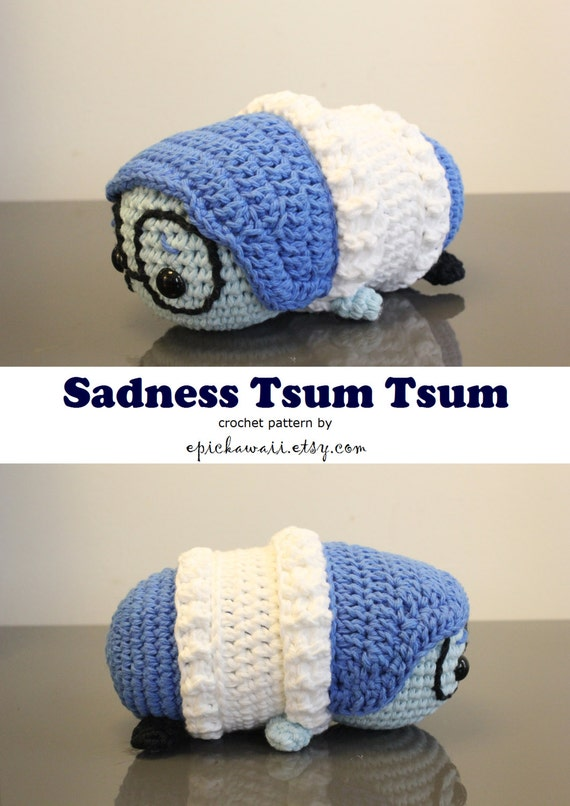 Amigurumi Tsum Tsum Free Pattern : PATTERN: Sadness Tsum Tsum Crochet Amigurumi Doll