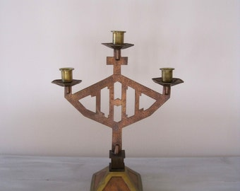 Vintage French Brass & Hammered Copper Altar Candlestick 3 Branch Church Candlestick