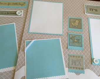 Baby boy premade scrapbook pages premade 12 by 12 pages for baby boy premade pages for baby boy