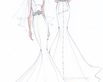 Custom fashion illustration - Custom bridal sketch - wedding gift - anniversary gift - bridal illustration - custom bride FRONT and BACK