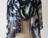 Rorschach ink blot silk chiffon scarf, mystic goth style