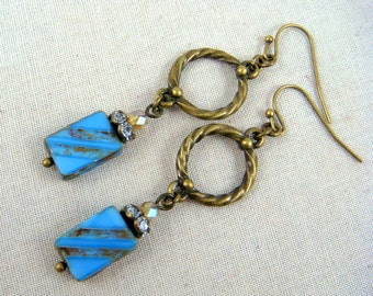 Denim Blue Earrings, Boho Earrings, Blue and Brass Earrings, Blue Dangle Earrings, Lightweight Earrings, Blue Czech Bead Earrings