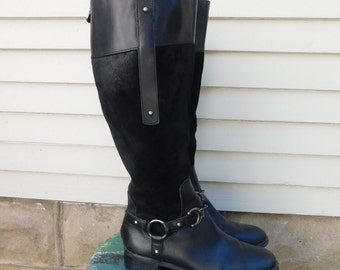 Vintage Etienne Aigner Black Leather And Suede Equestrian Riding Boots, Size 6.5, Euro 37, UK 4.5