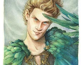 Loki - Cloak of Feathers *Original painting*