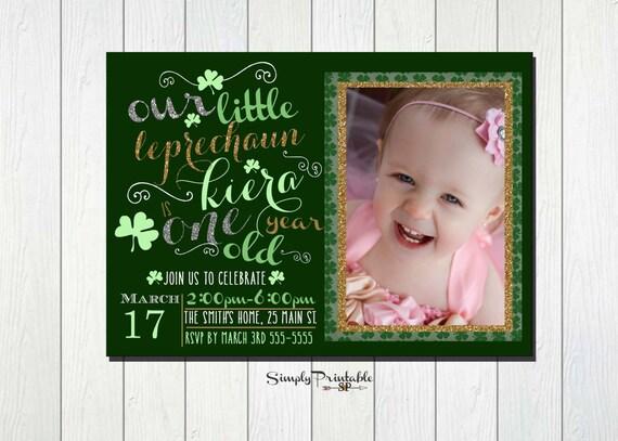 St. Patrick's Day Invitation, 1st Birthday Invite, Our Little Leprachaun Invitation, Shamrock