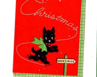 Vintage Dog Christmas Card - Vintage Mixed Media, Collage, Art Journal, Scrapbookng, Decor, December Daily, Craft Supplies