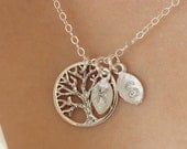 Mothers Necklace, Family Tree of Life Necklace, Monogram Necklace Initial Jewelry Mother of Groom New Mom Gift New Mom Necklace