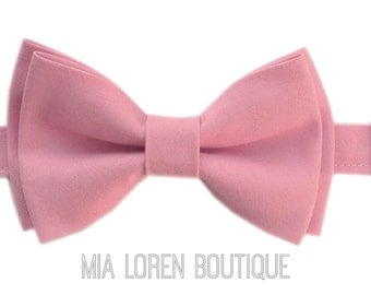 Rose Pink Bow Tie for Men or Boys, Matte Cotton Bow Ties Made in the USA