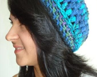 Handmade Blue, Purple, Green and Black Crochet hat/beanie