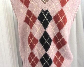 Vintage wool vest, Shetland Wool Vest, Diamond wool Vest, mens wool vest, Italian wool vest, made in Italy vest, XL wool vest,knit wool vest
