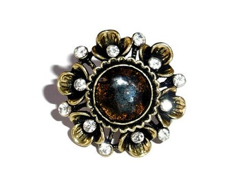 Boho ring, big boho ring, antique gold ring, black boho ring, black ring, black flower ring, glass ring, bronze ring, unusual ring,